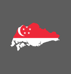 singapore flag and map vector image vector image