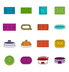 sport stadium icons doodle set vector image vector image