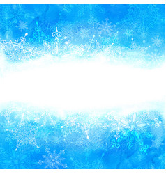 winter background with snowflakes and hand drawn vector image