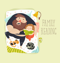 Cute daughter reading bedtime story to his father vector