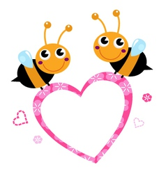 Cute flying Bees with pink love Heart vector image vector image