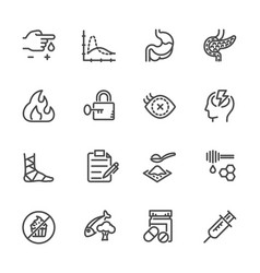 diabetes icons set line icons vector image