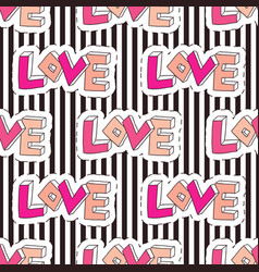 fashion seamless pattern on striped backdrop love vector image