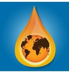 globe earth inside water oil drop liquid vector image vector image