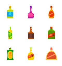 alcoholic bottle icons set cartoon style vector image vector image