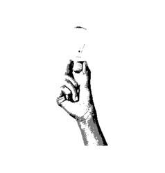 black 8-bit right hand holding bulb vector image