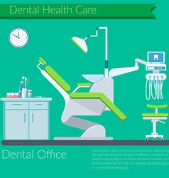 Dentist office flat design with Dental care items vector image