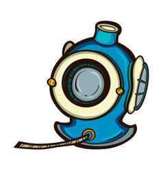 diving helmet isolated equipment deep sea diver vector image