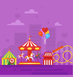 flat style of amusement park for kids vector image