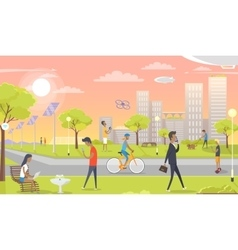 People Entertain in Park Rest Zone in Urban City vector image vector image