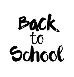 Back to school logo hand drawn text on white vector