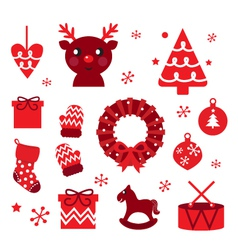christmas retro elements vector image