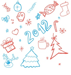 doodle christmas background vector image vector image