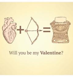 Sketch cute Valentine card vector image