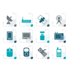 Stylized technology and communications icons vector