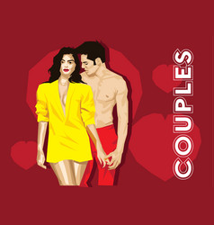 young couple romance vector image