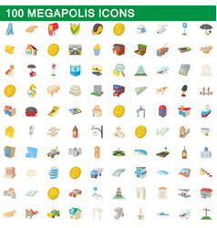 100 megapolis icons set cartoon style vector image