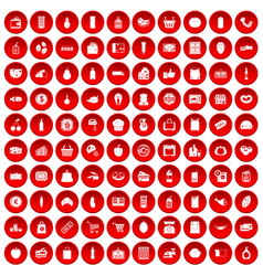 100 supermarket icons set red vector