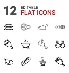 12 grilled icons vector