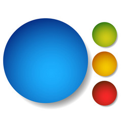4 color clean circle buttons badges with vector image