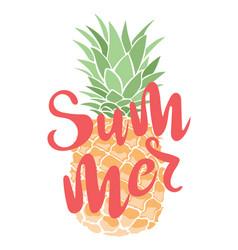 a cartoon pineapple with an inscription summer vector image