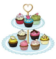 A cupcake tray full of cupcakes vector