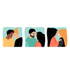 a set with young couples vector image