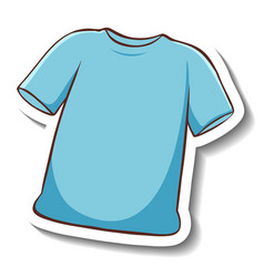 A sticker template with blue t-shirt isolated vector