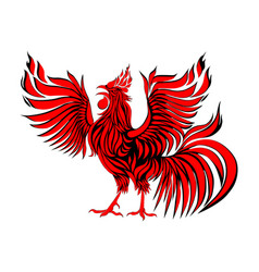 abstract red rooster symbol of 2017 on the vector image