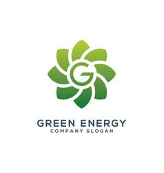 abstract sun green enegy logo template vector image