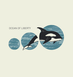 Banner with hand-drawn killer whale and sea waves vector