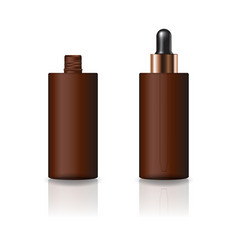 Blank brown cylinder cosmetic bottle dropper lid vector
