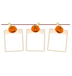 Blank Photos with Halloween Pumpkin vector image