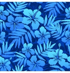 Blue tropical flowers seamless pattern vector