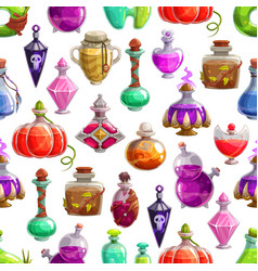 bottles halloween potion seamless pattern vector image