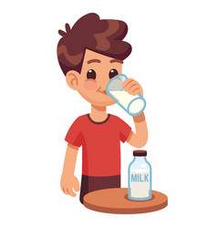 Boy drinks milk kid holding and drinking milk in vector
