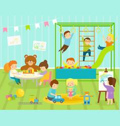 Boy kids kindergarten room with big slide vector