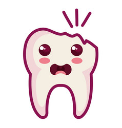Broken tooth character isolated icon vector