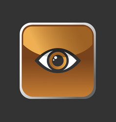 brown eye icon on a square button vector image
