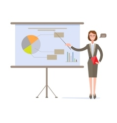 Businesswoman Presenting Pie Chart on Screen vector