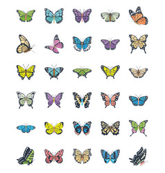 Butterfly flat icons vector
