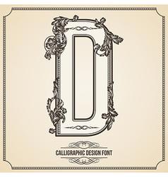 Calligraphic font Letter D vector