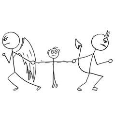 Cartoon angel and devil fighting wrestling vector