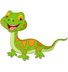 Cartoon cute lizard vector image