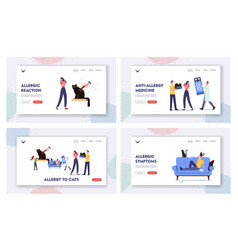Cat allergy landing page template set characters vector