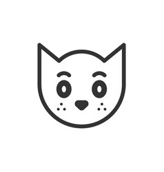 cat head icon in flat style cute pet on white vector image