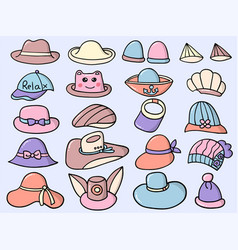 character design cute hat style set vector image