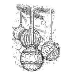 christmas balls on tree hand drawing vector image