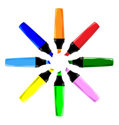 Circle of highlighter pens vector
