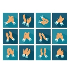 Clapping Flat Icons Set vector